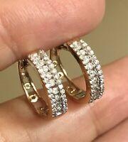Designer Solid 9ct Yellow Gold Diamond Earrings 0.50ct Hoops Huggies