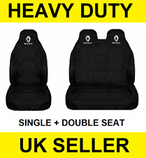 RENAULT TRAFIC Van Seat Covers Protectors 2+1 100% WATERPROOF Black HEAVYDUTY