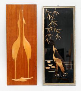 2 Bilder Reiher Kranich Fischreiher 50er 60er Jahre Midcentury Holz Wand Deko