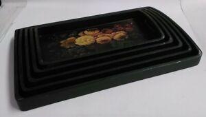 set of five vintage Handpainted wooden trays