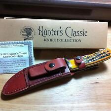 """Hunter's Classic NAHC Orange Jig Bone Hunting Knife 9 1/4"""" wLeather Sheath H1734"""