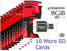 10 BRAND NEW KINGSTON 8GB MICRO SD SDHC CLASS4 FLASH MEMORY CARD WHOLESALE DEAL
