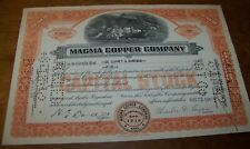 1942 Magma Copper Co Mining Stock Certificate Scripophily Maine