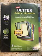 Staples Better Dividers 8 Multi Colored Fixed Tabs Ultra Durable Free Shipping