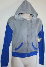 New Juniors Selena Gomez Gray/Blu PREP RALLY Light Sweatshirt Hoodie Jacket L