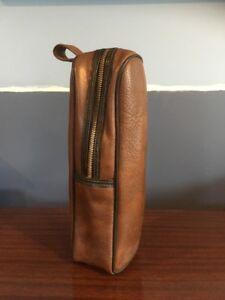 Vintage Two-Tone Brown Wine Bottle Case Fleece Lined