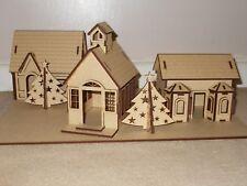 Wooden Village Scene Christmas Decoration House X2 Church