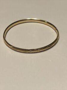 Vintage 14K Yellow Gold Etched Floral Bangle Bracelet 5.9 Grams Gold