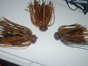 Custom Weedless Football Jig Lot Of 3 Bourbon Whiskey Craw 1/2 oz 5/0 Mustad WOW
