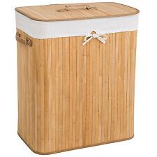 Cesta de bambú para la ropa 100L colada baño cesto madera pongotodo natural