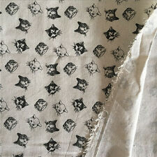 50x150cm Cotton Linen Fabric DIY Home Deco Material Printed Black Cat Head 414B