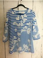 New York & Company Women's Size M Floral Blue White Striped Blouse 3/4 Sleeve