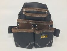 Leather Gold Oil Tanned Leather Pouch With Extra Big Pockets For Nails And Tools