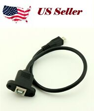 USB 2.0 B Female Socket Printer Panel Mount To Micro USB 5 Pin Male Cable 1FT