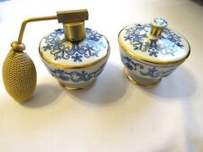 Porcelain Vanity Atomizer Perfume Bottle+Dish Made In Bavaria Western Germany