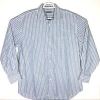 Peter Millar Mens XXL 2XL Button Up Striped Long Sleeve Shirt Blue Green Cotton