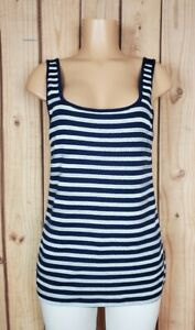 M Women/'s Old Navy Dark Orange White Striped Scoop Neck Sequin Shirt Top
