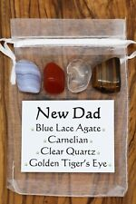New Dad Crystal Gift Set Carnelian Tiger's Eye Quartz Blue Lace Agate Father