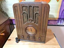 Antique Silvertone gold dial 4564 Tombstone tube table radio Works
