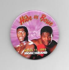"""RIDDICK BOWE vs. HERBIE HIDE MARCH 11, 1995 MGM BOXING PIN-BACK BUTTON 3"""" ROUND"""