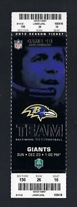 RAY LEWIS FINAL HOME GAME - 2012 NFL GIANTS @ RAVENS FULL FOOTBALL TICKET