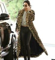 Women Faux Fur Leopard Coat Winter Warm Furry Long Jacket Outwear Lapel Parka