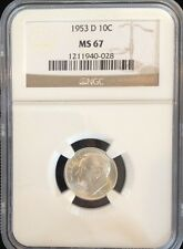 1953 D Roosevelt Dime NGC MS 67