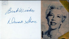 DINAH SHORE (SINGER, ACTRESS) SIGNATURE ON CARD WITH PHOTO BN4116