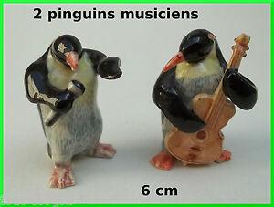 pingouins miniature en porcelaine,bassiste,chanteur,BAISSE DE PRIX NOEL *C10