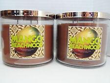 Bath Body Works Slatkin MANGO BEACHWOOD 3-wick Candles NEW x 2