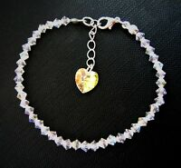 Sterling Silver & Crystal Heart AB Anklet - Made with Sparkly SWAROVSKI ELEMENTS