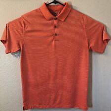 Nike Golf Dri fit Mens Polo Orange Striped Short Sleeve Large Shirt