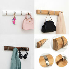 Coat Rack Wood Hanger with Flip-Down Hooks Wall Mounted Clothes Rack Coat Hanger