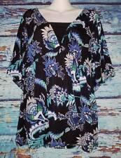 Dress Barn Black Blue Tunic Top Women's Size X-Large