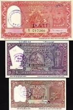 INDIA MAHATMA GANDHI 1'st 2- 5-10 RUPEES 3 PCS SET 1957 UNC BUT aAU+ KHADI HUNDI