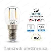 Lampadina led V-TAC 2W = 25W E14 bianco freddo 6000K VT-1952 ST26 filamento bulb