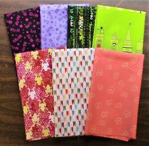 7 Half Yard Cuts – Novelty Mix Lot 5 - Quilting, Sewing, 100% Cotton E3205