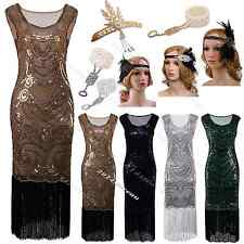 1920s Flapper Dress Great Gatsby Black Embellished Fringed Costume Roaring 20s
