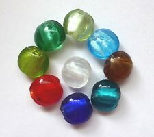 Silver Foil Glass Beads - Disc - Mixed colours - 10mm/1mm hole - 20 beads