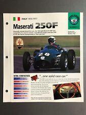 "1954 - 1957 MASERATI 250F Race Car IMP ""Hot Cars"" Spec Sheet Folder Brochure"
