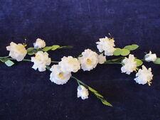 Vintage Millinery Flower Wild Rose Spray White Silk for Hat Wedding + Hair Nh8