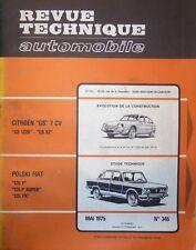 Revue technique FIAT POLSKI 125 P SUPER PX RTA 345 1975 + CITROEN GS 1220 GS X2