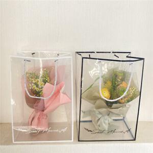 Flower Gift Box Bag Handbag PVC Clear Wrapping Packaging Box With Handle Bag Box