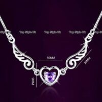 925 Sterling Silver Angel Wings Heart Necklace Christmas Xmas Gifts for Her J383