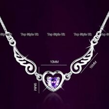 925 Sterling Silver Angel Wings Heart Necklace Christmas Xmas Gifts for Her A6