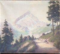 ::E. SCHEDDIN ÖLGEMÄLDE UM 1920 ANTIK ALPSPITZE ALPEN SIGNIERT TANNEN LANDSCHAFT