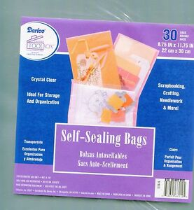 30 Crystal Clear Self-Sealing Bags 8.75 x 11.75 Quilling-Scrapbook-Card-Storage