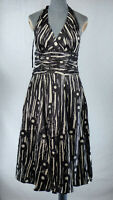 Monsoon Black White Halter Neck Fit & Flare Occasion Party Silk Dress UK 10