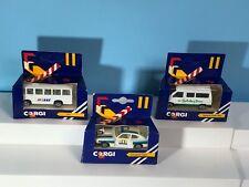 Vintage Lot of 3 Corgi Juniors Gt Britain Ford Capri Zakspeed Mercedes Bus Van