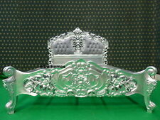 Made to Order  ROCOCO BED Silver Leaf Double size French louis antique style
